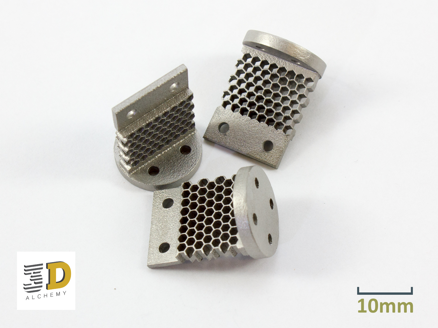3D Printed heat sinks in stainless steel.