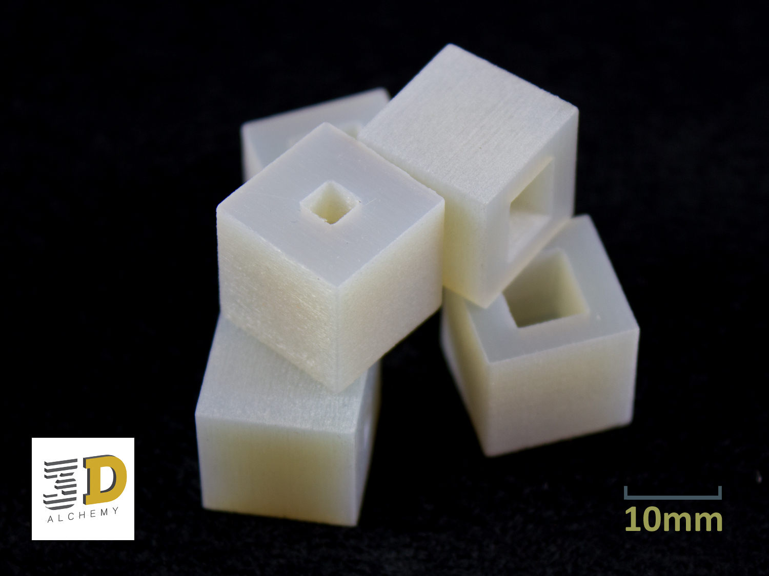 3D Printed parts in Polypropylene Like material.